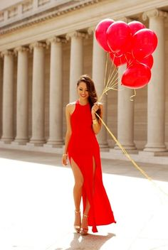 Gorgeous #red dress, complete with matching balloons
