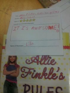 """Allie Finkle's Rules by Meg Cabot  5 stars- """"It is awesome!"""" -Lila"""
