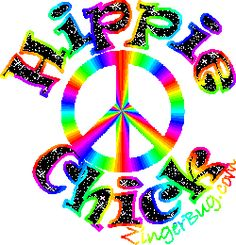 Peace Sign Glitter Graphics | Glitter Graphic Comment: Hippie Chick Glitter Text with peace sign