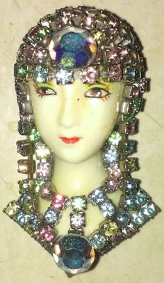 Cleopatra Rhinestone Resin Face Brooch Multi by ArtsyMysticDesigns, $26.99 Cleopatra, Resin, Chokers, Brooch, Jewellery, Face, Brooch Pin, Jewelery, Jewlery
