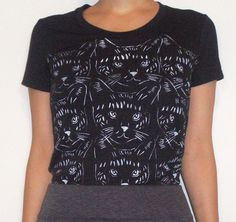SALE-Women's black,short sleeves t shirt - Hand stenciled - White cat print -Size M