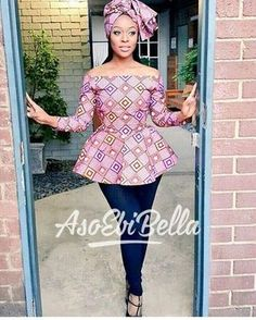 African Print Peplum Top with Sleeves - Ankara - African Dress - Handmade - African Clothing - African Fashion - Ankara Dress -Plus HeadWrap African Blouses, African Tops, African Dresses For Women, African Print Dresses, African Attire, African Wear, African Women, African Prints, African Style