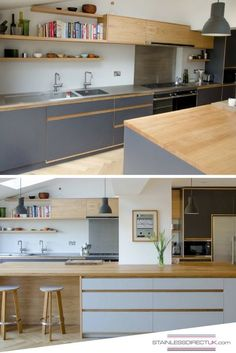 We like the colour combination with the greyish-blue of the cupboards, the light wood and the stainless steel worktop that brings in the little extra sparkle. Interior Modern, Home Interior, Kitchen Interior, Kitchen Decor, Farmhouse Kitchen Cabinets, Modern Farmhouse Kitchens, Modern British Kitchens, Grey Kitchens, Home Kitchens