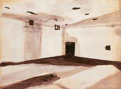 Luc Tuymans Gas Chamber (1986) Ik krijg hier een heel unheimisch gevoel bij omdat je weet dat daar iets verschrikkelijks is gebeurt. De manier waarop Luc Tuymans de kamer heeft geschilderd, daar zit wel een contrast in, omdat hij daarvoor vreemde zachte kleuren voor gebruikt heeft. Dit in combinatie met het onderwerp geeft ook een extra unheimisch gevoel.
