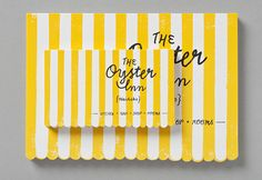 obsessed! branding and design, yellow stripes, hand lettering and scalloped edges