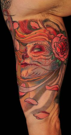 Day of the dead face Tattoo - http://99tattooideas.com/day-dead-face-tattoo/ #tattoo #tattoos #ink