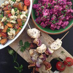 Indiske salater & kylling på spyd med figner og rødløg