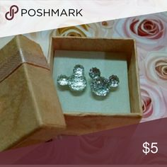 """Brand new! Mickey Mouse Earrings Brand new!  Handmade. Clear sparkly acrylic. Steel posts. Adorable!! About .25"""" diameter. Great size for all ages!!  *Top Rated Seller, Fast Shipper, Smoke and pet free, nice packaging, multiple item discount. B3 Disney Jewelry Earrings"""