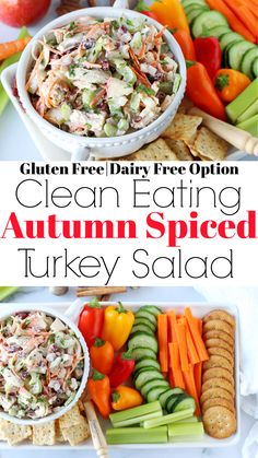The BEST Autumn Spiced Turkey Salad | If you have leftover turkey, this easy recipe is a must! This healthy gluten free salad recipe combines all the flavors of fall. The crunchy apples and dried cranberries are sweet and tart, and the cinnamon and nutmeg complement the flavor of the turkey breast (try smoked meat!). Use this clean eating harvest salad in a sandwich, wrap, or with vegetable dippers. Use plain Greek yogurt in place of mayo or dairy free almond yogurt too. Turkey Lunch Meat, Turkey Salad, Fall Dinner Recipes, Thanksgiving Recipes, Fall Recipes, Salad Recipes Gluten Free, Healthy Recipes, Healthy Meals, Almond Yogurt