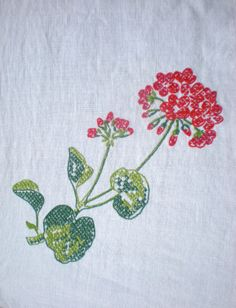 Vintage Embroidered Tablecloth  /  Square /  by chloeswirl on Etsy, $27.00