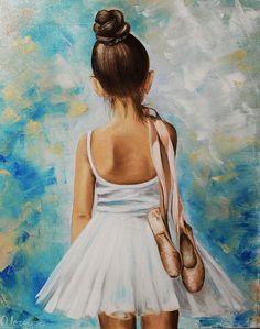 Купить Картина маслом Девочка балерина - голубой, балерина, девочка балерина, юная балерина
