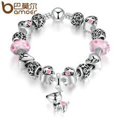 BAMOER Antique Silver Color I love U PINK DOG Pendant Murano Glass Beads Bracelets & Bangles Women Wedding PA1889 #Affiliate