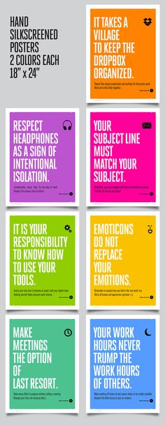 A set of posters by Jason Franzen for proper etiquette in the modern workspace, both physical and cloud-based. Currently on Kickstarter.