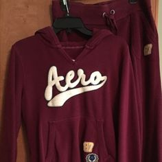 Sweat suit Burgundy Aeropostale sweat outfit. Pants are small and shirt is a large Aeropostale Pants Track Pants & Joggers
