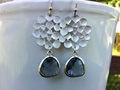 Charcoal Silver Flat Bubbles Drop Earrings by MiaCocoDesigns, $26.00