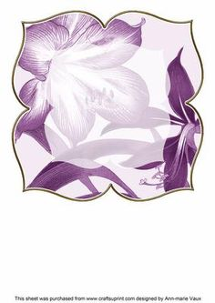 Amarylis Purple Large Blooms 8inch Insert Panel on Craftsuprint - Add To Basket!
