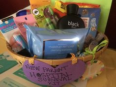 Made this for my best friend's baby shower ! 50-60$ worth of items...cute idea for the mom to be! Being a mommy, I put things I wish I had when I was admitted into the hospital :)  Contents inside basket (which was originally an Easter basket I had saved):   Preggos favorite candies (sour, sweet and chocolates)  Makeup remover wipes (neutrogena)  Mascara, lip balms  Good shampoo (black brand)  Hand sanitizers (I was paranoid at the hospital when I had visitors )  Redbull (for daddy)…