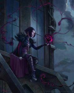 Female, woman, sorceress, dark mage, black hair, purple