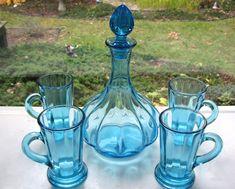 Tiara Indiana Glass Blue Captain's Decanter & 4 Handled 7 oz Tumblers Set #IndianaGlass