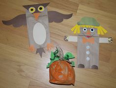 Autumn Paper Bag Crafts from Cheap Crafty Mama Fall Crafts For Kids, Thanksgiving Crafts, Crafts To Do, Holiday Crafts, Kids Crafts, Art For Kids, Owl Crafts, Fall Preschool, Preschool Crafts