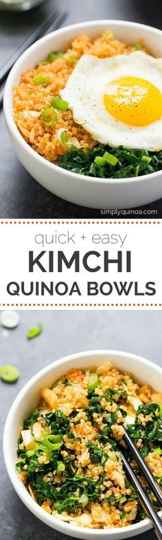 Spicy Kimchi Quinoa Bowls -- an easy lunch or dinner recipe that takes less than 15 minutes to make! Kimchi Juice Recipe, Spicy Kimchi Recipe, Korean Bowl Recipe, Egg Bowl Recipe, Budha Bowl Recipe, Quinoa Dinner Recipes, Healthy Recipes With Quinoa, Paleo Dinner, Tofu Recipes