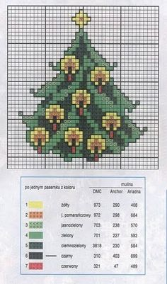 Christmas tree with candles cross stitch chart …