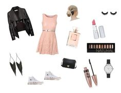"""""""Schoolfoto"""" by natasja-lauridsen ❤ liked on Polyvore featuring moda, Glamorous, HIDE, Converse, Olivia Burton, GUESS, HoneyBee Gardens, Forever 21 y Maybelline"""
