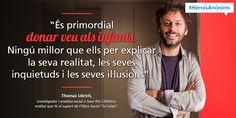 Infografia sobre Thomas Ubrich, investigador i analista a Save the Children, que treballa per donar veu als infants #HeroisAnònims