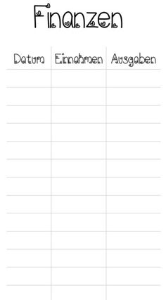 60 x Finanz Listen z.B für den Filofax Personal von NaJero auf DaWanda.com