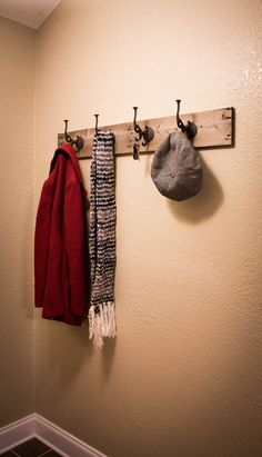 40 in., Rustic Coat Hook from Reclaimed Wood by DrakestoneDesigns on Etsy, $40.00