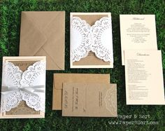 Gate Fold Rustic Southern Wedding Invitation Suite with Doily - Invite, RSVP, Inserts, Ribbon - Sample Set on Etsy, $4.50