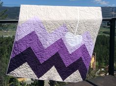 The Purple Wave Heart Quitl by QuiltsbyKimberlyDawn on Etsy