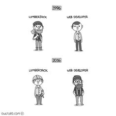 The transformation of Lumberjack and Web developer between 1996 and 2016, comic by owlturd.com. :) #lumberjack #webdeveloper #webdevelopment #webdev #webdesign #html #html5 #css #css3 #js #javascript #php #programming #software #softwaredesign #coding #artofcoding #development #softwaredevelopment #engineering #comics #caricature #cartoon #fun #funny #augsburg #munich #muc #münchen #stuttgart