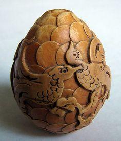 Russian Wooden Bark Decorative Egg by Katunchik