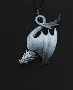 LIMITED EDITION Black and white tiger dragon white stipped darkness dragon charm necklace pendant je Tiger Dragon, Clay Dragon, Giant Animals, Wild Animals, Baby Animals, Shadow Dragon, Dragon Figurines, Magical Jewelry, Dragon Jewelry