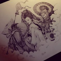 """Ozabu is an illustrator who only seems to be situated on instagram, yet this proclaimed """"hobbyist"""" has an incredibly refined style and touch. These ghostly graphite visions are inspired by fashion, asian visual culture and mythology. Follow Ozabu at @ozabu for more snapshots of these illustrated beauties."""