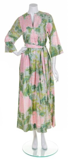 A Jim Thompson Thai Silk Floral Caftan, Size P.