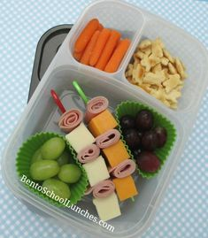 Food on a stick; mozzarella and cheddar cheese cubes with deli meat kebabs