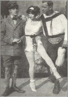 Clara Bow, Eddie Cantor and Wallace Beery on the set of Kid Boots, 1926