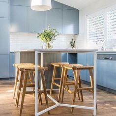 Loving our Sari Casa stools in the 'Studio Kitchen' of Kyal and Kara's @kyalandkara Toowoon Bay renovation #ozdesignfurniture #kyalandkara #toowoonbayreno #studiokitchen #renovation #takeaseat #interiors #styling #dine #home #interiordesign #instafollow #F4F #design