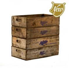 blueberry crates and a lot of vintage stuff Vintage Crates, The Good Old Days, Rustic Decor, Blueberry, Woodworking, Vintage Stuff, Buckets, Tins, Storage