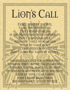 """This parchment honors the majestic king of the jungle, the Lion, and its regal spirit. Great as a display near an altar or sacred space, or a powerful prayer page for a Book of Shadows. Size: 8 1/2"""" x"""