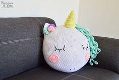 CROCHET PATTERN Unicorn Pillow / Cushion 14 by BunniesandYarn