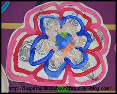 Les petits avaient leur fleur et leur arrosoir. Et bien , les moyens aussi. Ils ont fait une grande fleur à la peinture (des ponts) puis d'autres ponts au feutre noir. Ils ont peint des grands rouleaux en carton et ont découpé/collé les feuilles. J'ai...