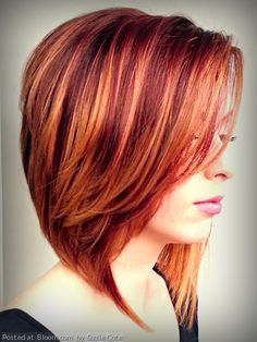 Stunning red fall hair color with diffused highlights by Suzie Cote. #stackedbob #lorealcolor #aquage  @Eric Fisher Academy