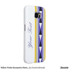 Yellow Violet Geometric Pattern with Custom Text Samsung Galaxy S6 Cases