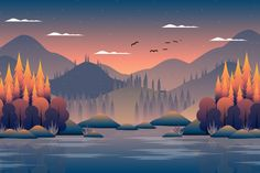 Scenery autumn forest with mountain and sky illustration Premium Vector | Premium Vector #Freepik #vector # # # #