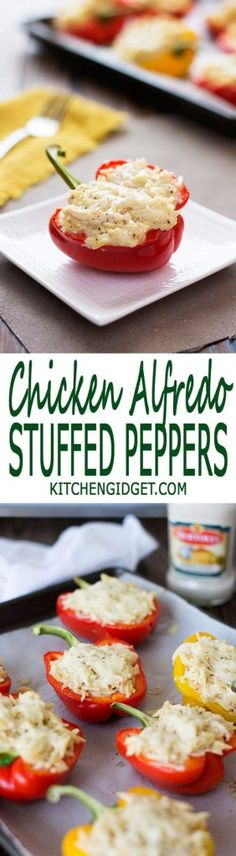 Creamy Chicken Alfredo Stuffed Peppers with orzo pasta. Only 5 ingredients for a quick and easy dinner! | Kitchen Gidget