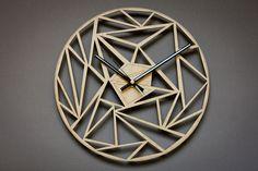 Unique wall clock, Geometric wood clock, Modern clock, Decor… – Clock World Wall Clock Silent, 3d Wall Clock, Hanging Clock, Wall Clock Design, Unique Wall Clocks, Wood Clocks, Wood Wall Art, Wall Canvas, Wall Watch