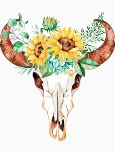 Sunflower bouquet bull skull sunflower skull sunflowers watercolor painted sunflowers by SouthPrints Bull Skull Tattoos, Bull Skulls, Deer Skulls, Animal Skulls, Sunflower Drawing, Sunflower Art, Sunflower Paintings, Watercolor Sunflower Tattoo, Flower Watercolor